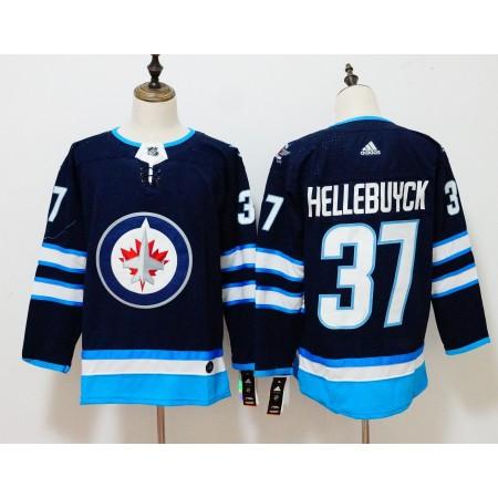 Men Winnipeg Jets 37 Hellebuyck Blue Hockey Stitched Adidas NHL Jerseys