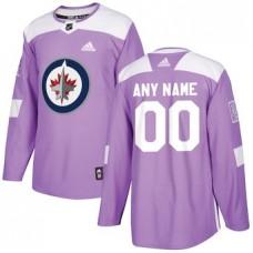 NHL Men adidas Winnipeg Jets Purple Hockey Fights Cancer Customized Practice Jersey
