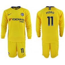 Men 2018-2019 club Chelsea away Long sleeve 11 yellow soccer jerseys