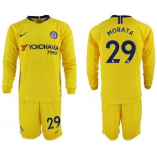 Men 2018-2019 club Chelsea away Long sleeve 29 yellow soccer jerseys