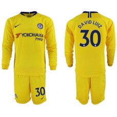 Men 2018-2019 club Chelsea away Long sleeve 30 yellow soccer jerseys