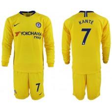 Men 2018-2019 club Chelsea away Long sleeve 7 yellow soccer jerseys