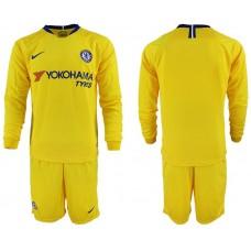 Men 2018-2019 club Chelsea away Long sleeve blank yellow soccer jerseys