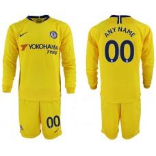 Men 2018-2019 club Chelsea away Long sleeve customized yellow soccer jerseys