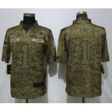 Men Carolina Panthers 1 Newton Nike Camo Salute to Service Limited NFL Jerseys
