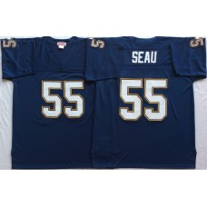 Men NFL Los Angeles Chargers 55 Seau blue Mitchell Ness jerseys