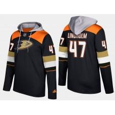 Men NHL Anaheim ducks 47 hampus lindholm black hoodie