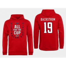 Men NHL Washington Capitals 19 Backstrom Red All for the Cup Hoodie