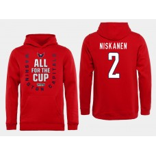 Men NHL Washington Capitals 2 Niskanen Red All for the Cup Hoodie