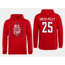 Men NHL Washington Capitals 25 Smith Pelly Red All for the Cup Hoodie