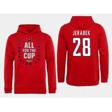 Men NHL Washington Capitals 28 Jerabek Red All for the Cup Hoodie