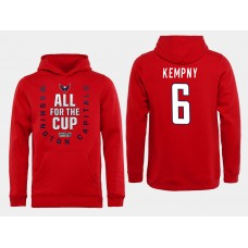 Men NHL Washington Capitals 6 Kampny Red All for the Cup Hoodie
