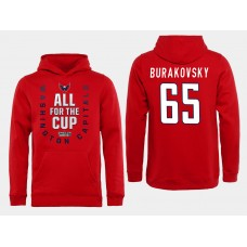 Men NHL Washington Capitals 65 Burakovsky Red All for the Cup Hoodie
