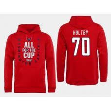 Men NHL Washington Capitals 70 Holtby Red All for the Cup Hoodie