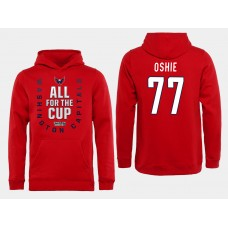 Men NHL Washington Capitals 77 Oshie Red All for the Cup Hoodie