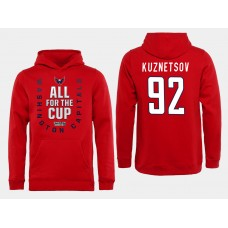 Men NHL Washington Capitals 92 Kuznetsov Red All for the Cup Hoodie