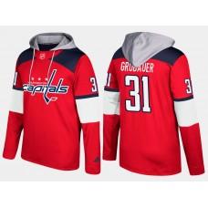 Men NHL Washington capitals 31 philipp grubauer red hoodie