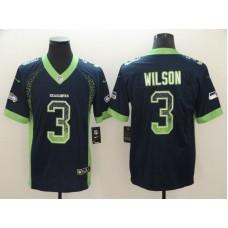 Men Seattle Seahawks 3 Wilson Blue Nike Drift Fashion Color Rush Limited NFL Jerseys
