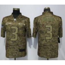 Men Seattle Seahawks 3 Wilson Nike Camo Salute to Service Limited NFL Jerseys