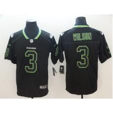 Men Seattle Seahawks 3 Wilson Nike Lights Out Black Color Rush Limited NFL Jerseys