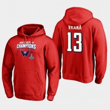 NHL Men Washington capitals 13 jakub vrana 2018 stanley cup champions pullover hoodie