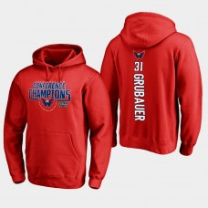 NHL Men Washington capitals 31 philipp grubauer 2018 eastern conference champions interference red hoodie