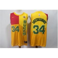 2019 Men Milwaukee Bucks 34 Antetokounmp yellow city edition Nike NBA Jerseys