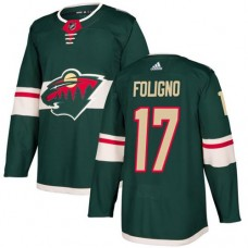 Adidas Men Minnesota Wild 17 Marcus Foligno Green Home Authentic Stitched NHL Jersey