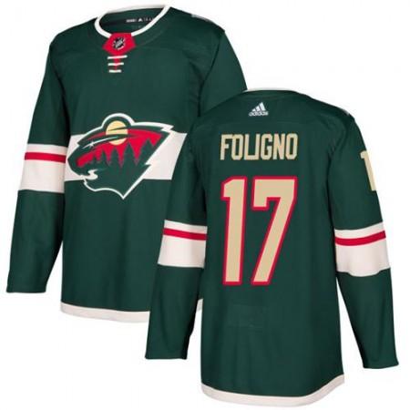 Adidas Men Minnesota Wild 17 Marcus Foligno Green Home Authentic Stitched NHL Jersey