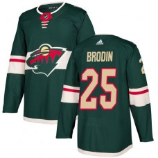 Adidas Men Minnesota Wild 25 Jonas Brodin Green Home Authentic Stitched NHL Jersey
