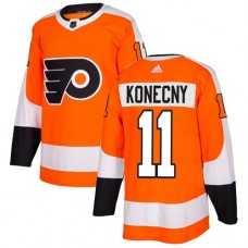 Adidas Men Philadelphia Flyers 11 Travis Konecny Orange Home Authentic Stitched NHL Jersey
