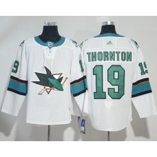 Adidas Men San Jose Sharks 19 Joe Thornton White Road Authentic Stitched NHL Jersey