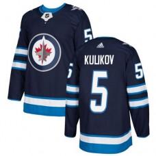 Adidas Men Winnipeg  Jets 5 Dmitry Kulikov Navy Blue Home Authentic Stitched NHL Jersey
