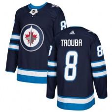 Adidas Men Winnipeg  Jets 8 Jacob Trouba Navy Blue Home Authentic Stitched NHL Jersey