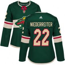 Adidas Minnesota Wild 22 Nino Niederreiter Green Home Authentic Women Stitched NHL Jersey