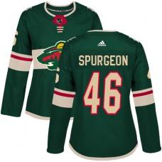 Adidas Minnesota Wild 46 Jared Spurgeon Green Home Authentic Women Stitched NHL Jersey