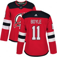 Adidas New Jersey Devils 11 Brian Boyle Red Home Authentic Women Stitched NHL Jersey