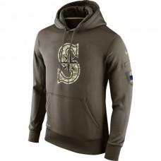 MLB Men Seattle Mariners Nike Olive Salute To Service KO Performance Hoodie Green