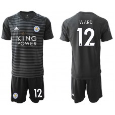 Men 2018-2019 club Leicester City black goalkeeper 12 soccer jersey