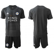 Men 2018-2019 club Leicester City black goalkeeper soccer jersey