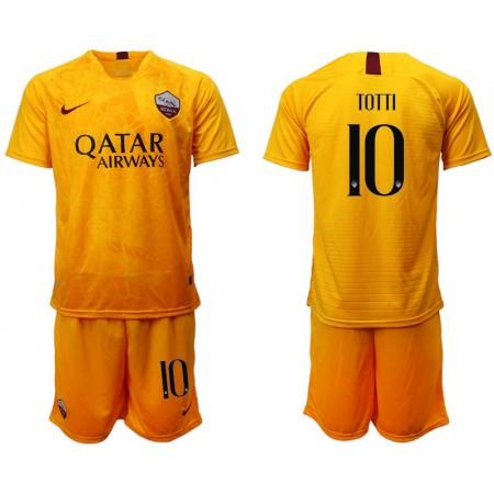 Men 2018-2019 club Rome Second away 10 yellow soccer jersey