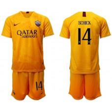 Men 2018-2019 club Rome Second away 14 yellow soccer jersey