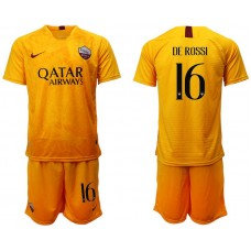 Men 2018-2019 club Rome Second away 16 yellow soccer jersey