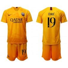 Men 2018-2019 club Rome Second away 19 yellow soccer jersey