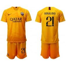 Men 2018-2019 club Rome Second away 21 yellow soccer jersey