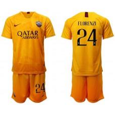 Men 2018-2019 club Rome Second away 24 yellow soccer jersey