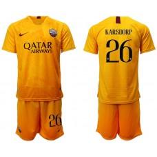 Men 2018-2019 club Rome Second away 26 yellow soccer jersey