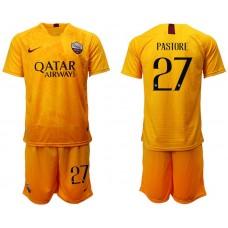 Men 2018-2019 club Rome Second away 27 yellow soccer jersey