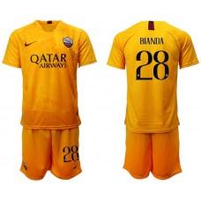 Men 2018-2019 club Rome Second away 28 yellow soccer jersey