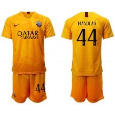 Men 2018-2019 club Rome Second away 44 yellow soccer jersey